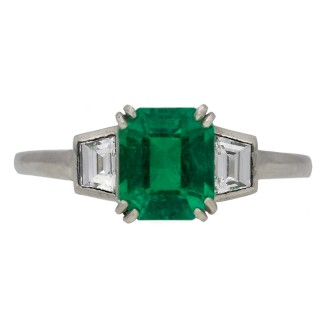 Art Deco Colombian emerald and diamond ring, English, circa 1930.