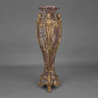 Louis XVI Style Gilt-Bronze Mounted Brêche Violette Marble Pedestal