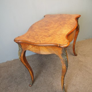 Louis XV Style Burr Walnut Bureau Plat / Writing Table