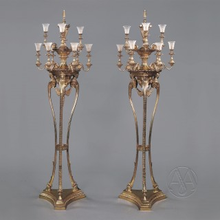 Pair of Adam Style Gilt-Bronze Nine-Light Floor Standing Candelabra