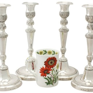 Set of Four Spanish Sterling Silver Candlesticks - French Empire Style - Antique Circa 1830