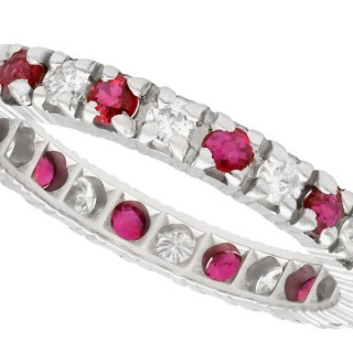 0.20ct Ruby and 0.16ct Diamond, 18ct White Gold Eternity Ring - Vintage Circa 1970