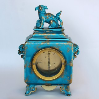 French Ceramic mantel clock with Chinese decoration