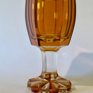 Bohemian amber bowled goblet