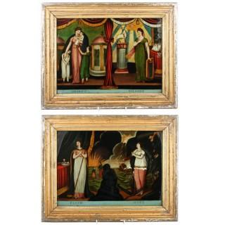 Georgian Reverse Glass Painted Prints