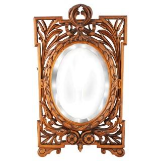 Victorian Carved Satin Birch Mirror