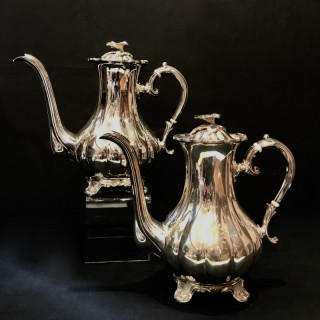 Pair of Tall Solid Silver Coffee Pots