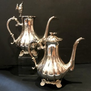 Pair of Tall Solid Silver Coffee Pots 68 troy oz