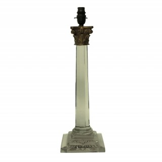 A GEORGE IV CUT GLASS COLUMN LAMP