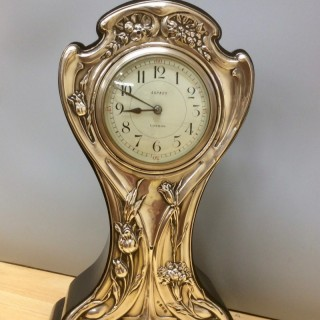 Art Nouveau Silver Fronted Balloon Mantel Clock
