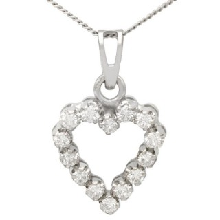 0.55 ct Diamond and 18 ct White Gold Heart Pendant - Vintage Circa 1980