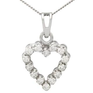 0.55 ct Diamond and 18 ct White Gold Heart Pendant - Vintage Circa 1980