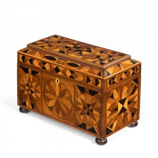 A Jamaican marquetry tea caddy in Caribbean woods by Ralph Turnbull