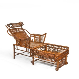 A Chinese Export 'Brighton Pavilion' bamboo adjustable day bed