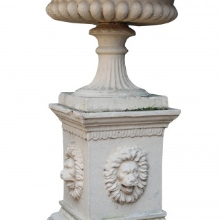 An Antique Buff Terracotta Tazza Urn on Pedestal