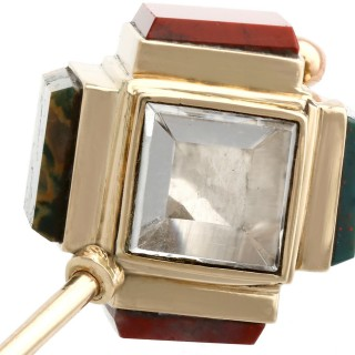 6.66ct Quartz and Agate, 9 ct Yellow Gold Pin Brooch - Antique Victorian Circa 1880