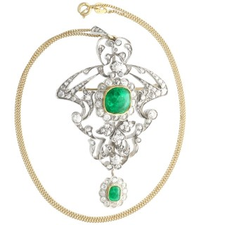 3.53ct Emerald and 5.89ct Diamond, 14ct Yellow Gold Pendant / Brooch - Antique Russian Circa 1900