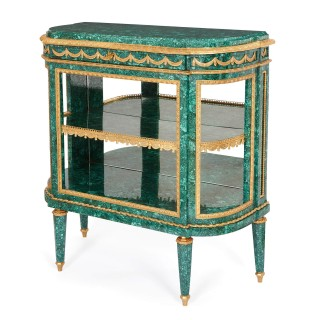 Pair of Neoclassical style malachite and gilt bronze commodes