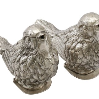 Continental Silver Bird Peppers - Antique Circa 1920
