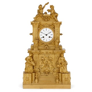 French architecturally formed ormolu mantel clock