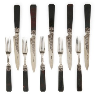 Important English silver flatware service by Francis Higgins II