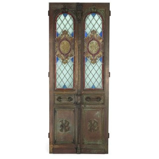 French Belle Époque bronze and stained glass doors