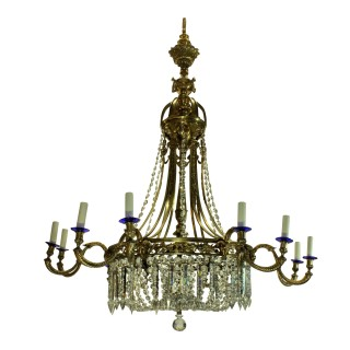 A LARGE GILT BRONZE & CUT GLASS REGENCY STYLE CHANDELIER