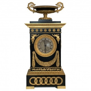 French Restauration Period Bronze & Gilt Timepiece by Cleret