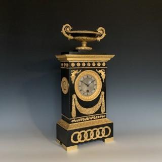 French Restauration Period Bronze & Gilt Timepiece by Cleret
