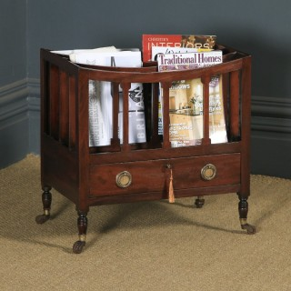 Small Antique English Georgian Regency Mahogany Canterbury Magazine Rack Tidy (Circa 1830)