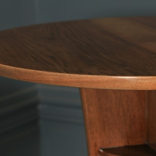 Art Deco English Walnut & Mahogany Circular Centre Coffee Occasional Side Table (Circa 1940)