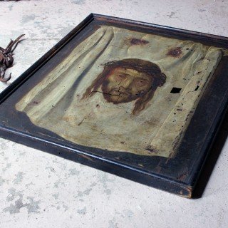 After Domenico Fetti; The Veil of Veronica; An Early 18thC Spanish School Oil on Canvas
