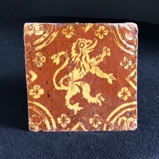 16th Century Lion Rampant Tile