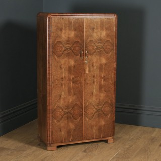 Antique Scottish Art Deco Burr Walnut Two Door Compactum Wardrobe By A&W Stewart (Circa 1930)
