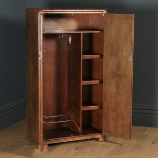 Antique Scottish Art Deco Burr Walnut Two Door Compactum Wardrobe By A&W Stewart (Circa 1930)