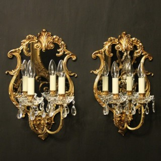 Italian Pair Of Bronze Antique Girandoles