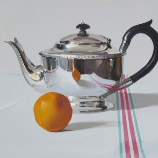Silver Teapot with Orange