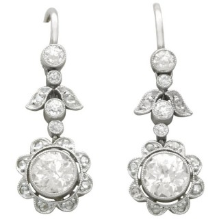1.42 ct Diamond and Platinum Drop Earrings - Antique Circa 1920