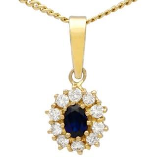 0.62 ct Sapphire and 0.35 ct Diamond, 18 ct Yellow Gold Cluster Pendant - Vintage Circa 1980