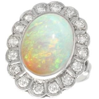 6.02ct Opal and 1.48ct Diamond, Platinum Cluster Ring - Antique Circa 1925