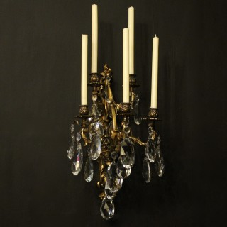 French Gilded Bronze Antique Wall Sconce