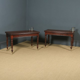 Antique English Pair of William IV Mahogany Console Side Hall Occasional Tables (Circa 1835)