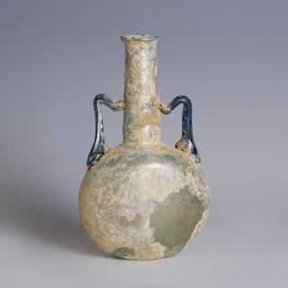 Roman Glass Pilgrim Flask with Blue Handles