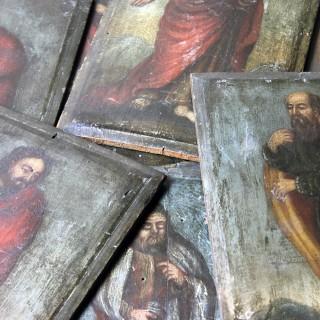 A Group of Eight 18thC Italian School Oil on Panel Studies of Apostles