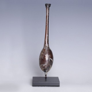 Ancient Roman Aubergine Glass Unguentarium