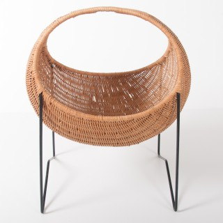 Metal And Wicker Baby Basket
