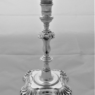 Good cast George II silver taper stick London 1752 John Cafe