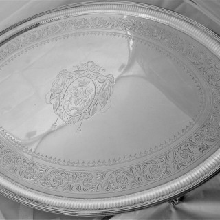 Good large armorial George III silver tray London 1795 Crouch & Hannam