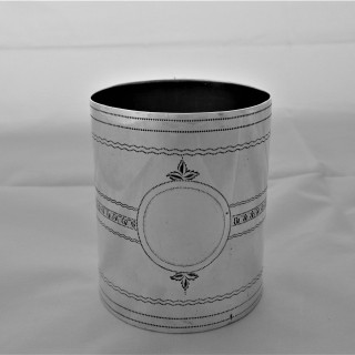 Good bright cut engraved George III silver Christening mug  London 1800 Joseph Marston