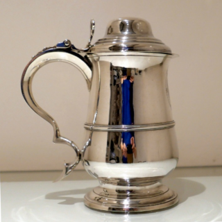 Antique George III Sterling Silver Tankard & Cover London 1789 Hester Bateman